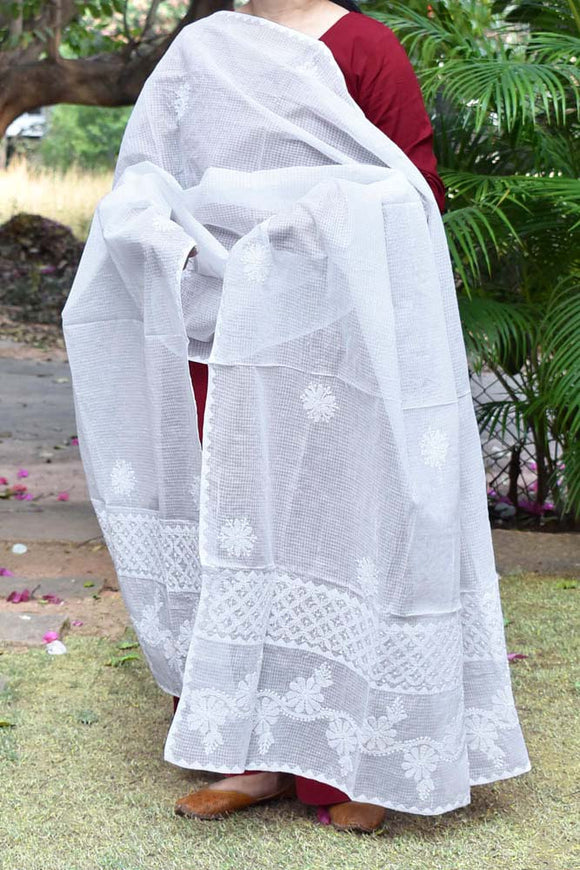 Hand Embroidered Lucknow Chikankari work Kota Cotton Dupatta - Milky White color