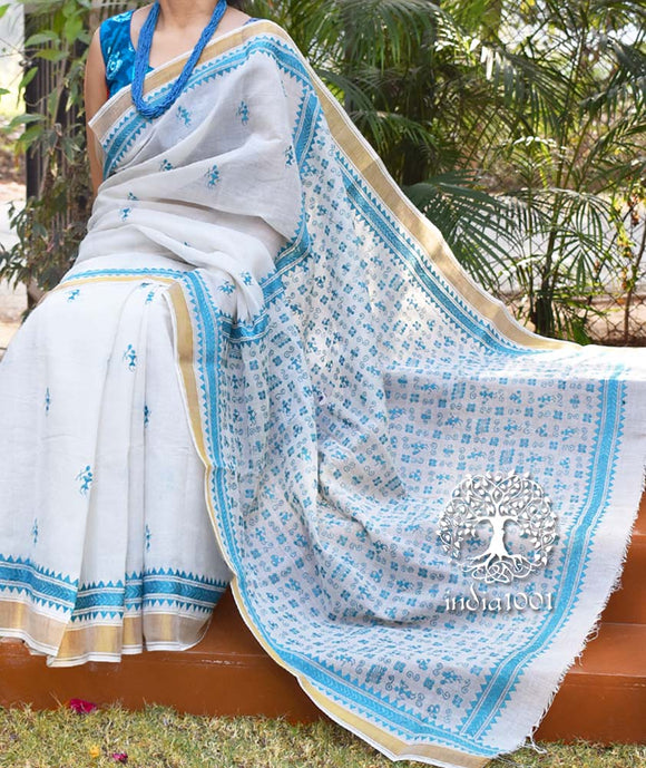 Elegant Bengal cotton saree with Hand Kantha Embroidery work