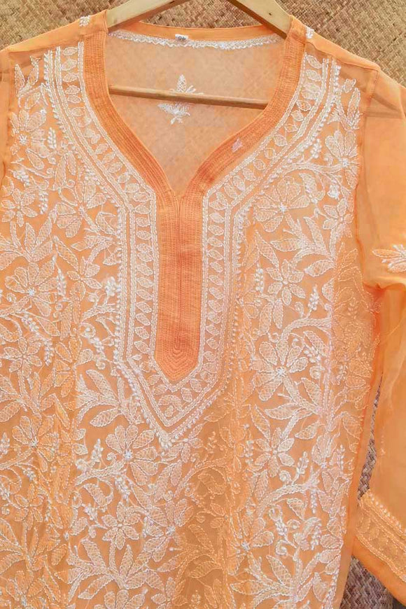 Elegant Georgette Long Kurta with Chikankari Size - 38