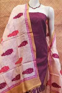 Beautiful Block Printed Tussar Silk dupatta with Aari work