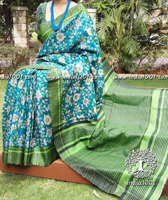 Elegant Block Printed Geecha Silk Saree