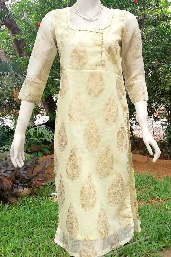 Elegant Block Printed Kota Cotton  Kurta