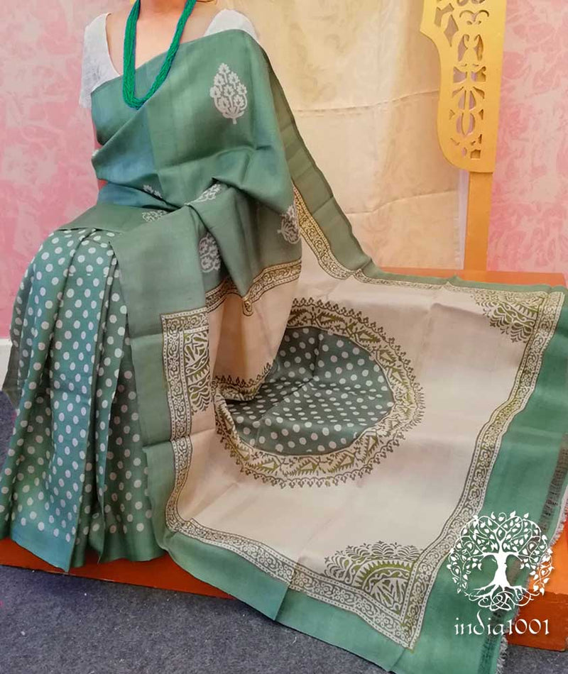 Elegant Block Printed Tussar Silk Saree