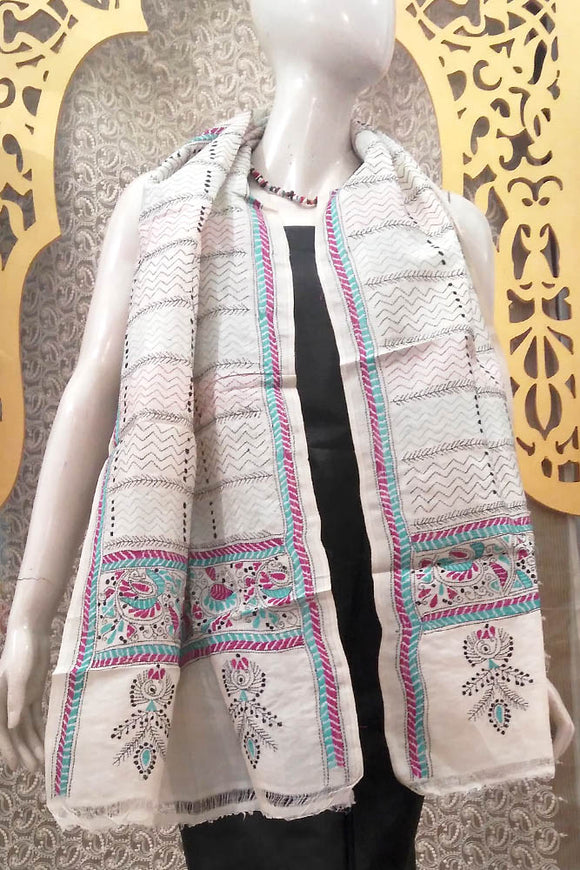 Elegant Hand Embroidered Kantha work Stole