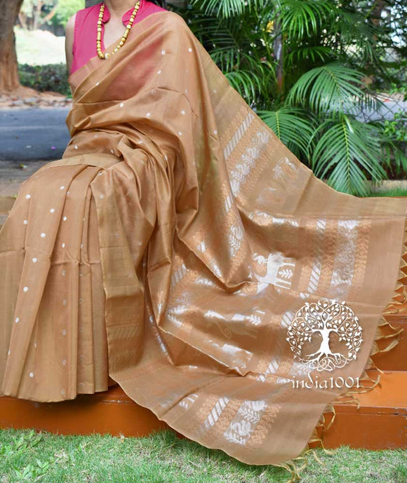 Elegant Kora Silk Cotton saree with woven motifs