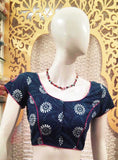 Dabu block Printed Cotton Blouse with Hand Embroidery
