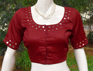 Cotton Blouse with hand done mirror work - Size 38, 40