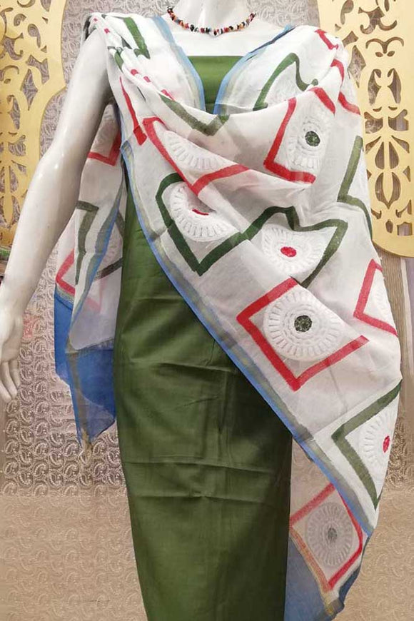Elegant Chanderi  Dupatta with Block Print & Embroidery