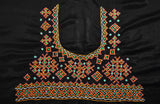 Beautiful Mashru Silk Blouse Fabric with Kutch Mutva Hand Embroidery