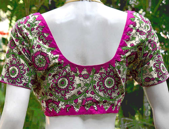 Elegant Kalamkari cotton blouse with patch work - Size - 40