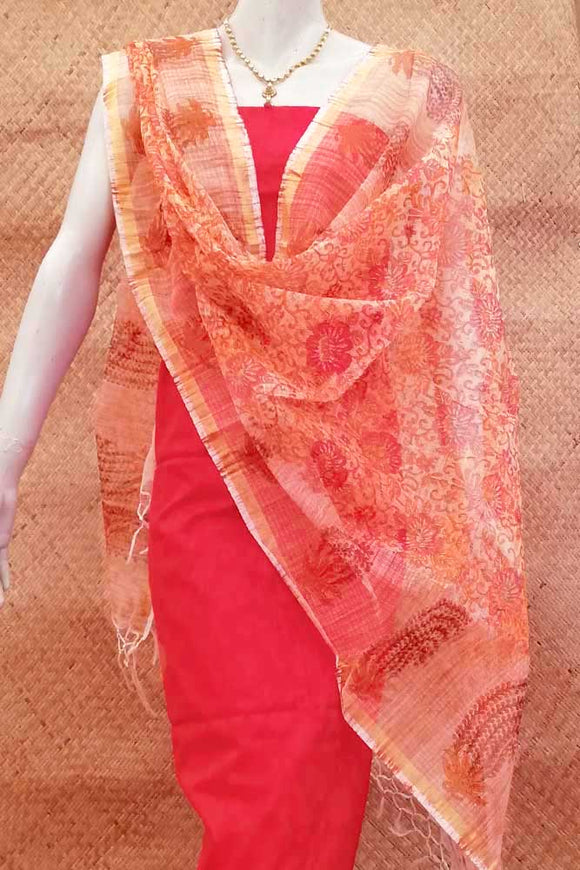 Brushed Block Printed Kota Doria Dupatta