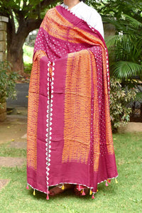 Beautiful Modal Silk Kutch Bandhani & Shibori Tie-Dye Dupatta