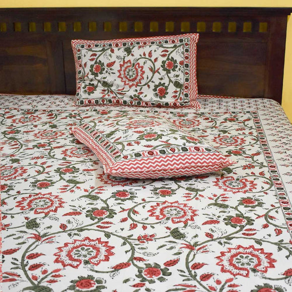 Antaraa Mughal print King Size Cotton Double Bed sheet with pillow covers