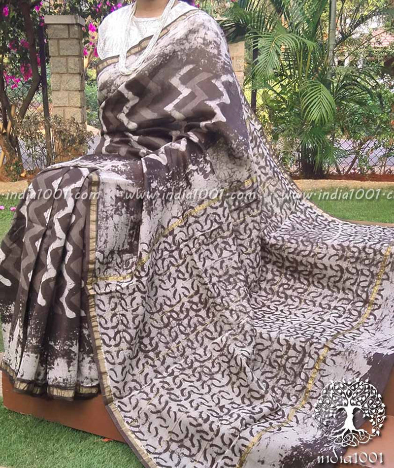 Elegant Chanderi Saree with Dabu Block Printing