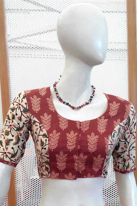 Block Printed  Cotton Blouse - Size - 38, 40