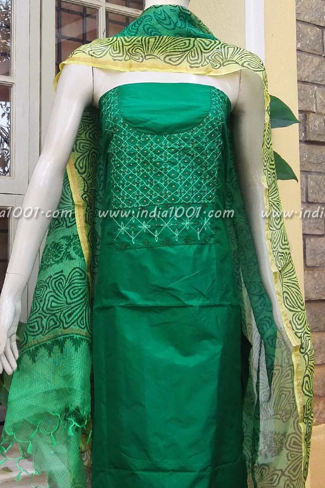 Kota Silk Dupatta & embroidered Silk Kurta Fabric