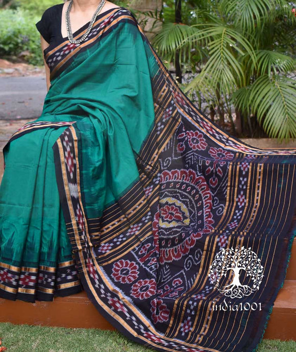 Elegant Handloom Orissa Ikkat Cotton Saree with pasapalli border ( without BP)
