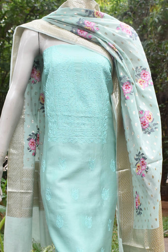 Elegant Chanderi 3pc Suit with Chikankari Work Kurta & Embroidered Banarasi dupatta