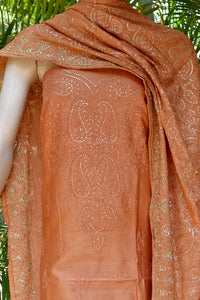 Elegant Chanderi kurta and bottom fabric with Chikankari work & Georgette dupatta with Embroidery