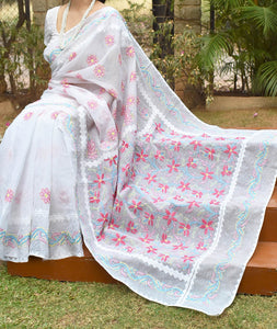 Elegant Kota cotton Saree with Lucknowi Chikankari & Applique work ( with blouse)