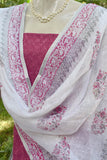 Elegant Linen dupatta with Woven Ikkat kurta Fabric set