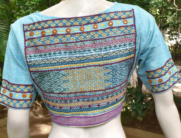 Beautiful Cotton Blouse with hand done Lambani work - Size 40 ( can be extended )
