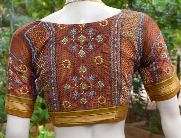 Beautiful Khun blouse with hand done Lambani work - Size 38 ( can be altered)