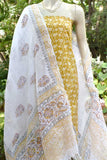 Elegant Linen dupatta with Block Printed Kurta Fabric set