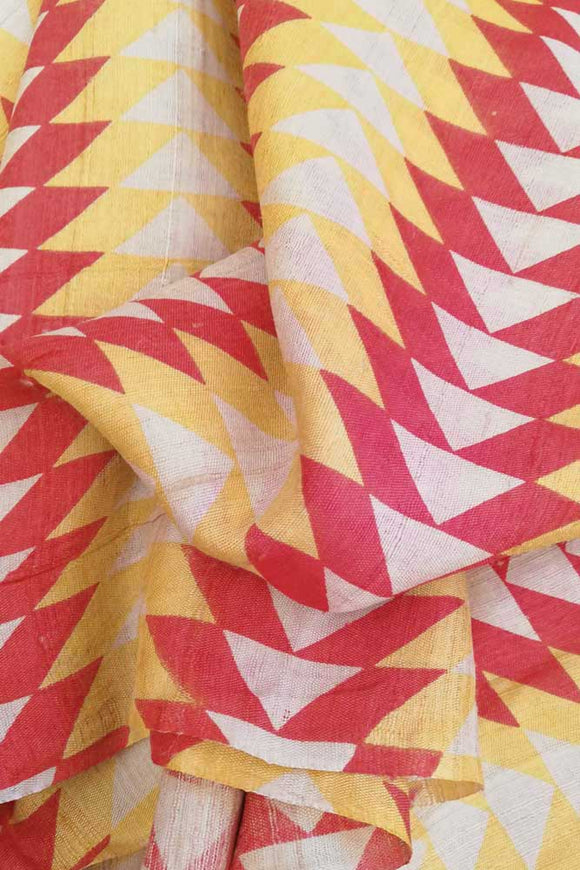 Elegant Muga & tussar silk blend fabric with block prints