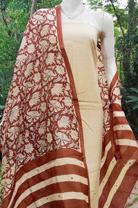 Beautiful Bagru Block print Chanderi dupatta with mirror work