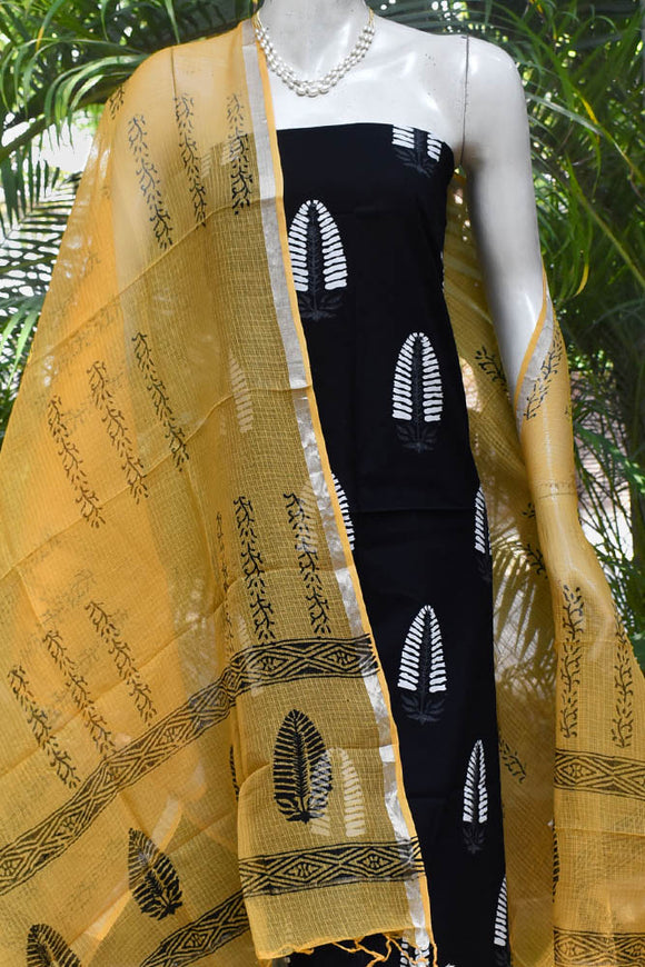 Elegant Block Printed Cotton & Kota unstitched suit fabric
