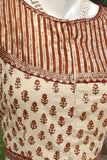 Block Printed Cotton Blouse with all over Sequins  - Size 38