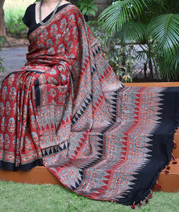 Elegant Hand Block Printed Ajrakh Modal Silk Saree with tassels