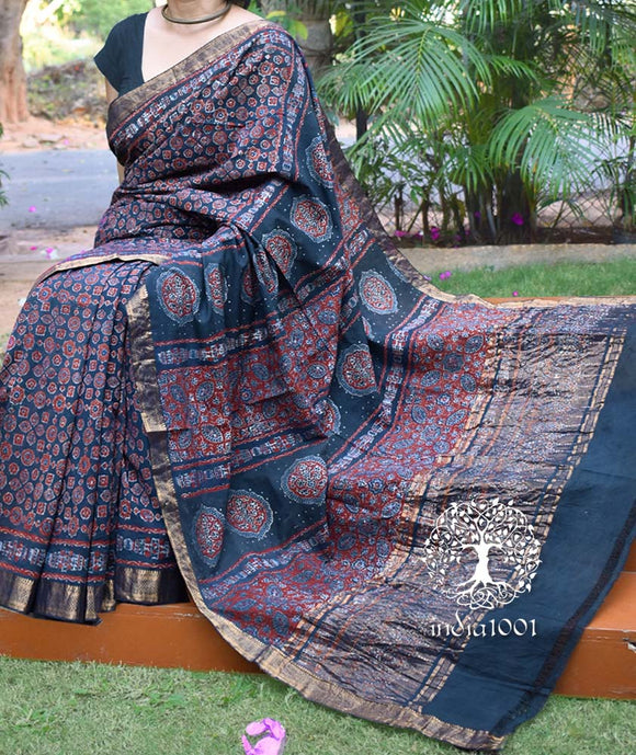 Beautiful Woven Mangalgiri Saree with Ajrakh Hand Block printing