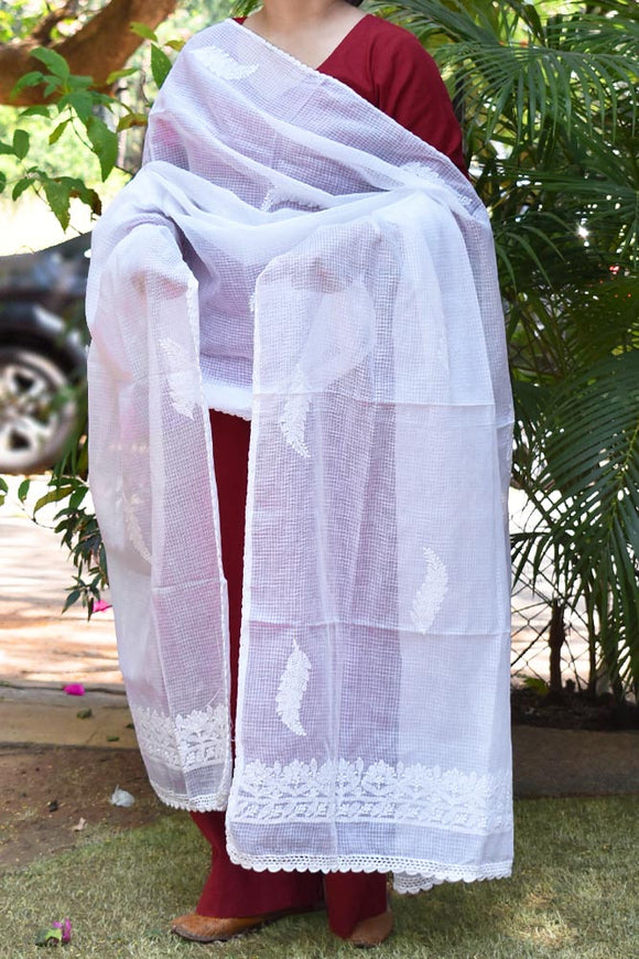 Hand Embroidered Lucknow Chikankari work Kota Doria Dupatta - - Milky White color