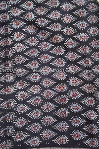 Mashru blouse fabric with Ajrakh block print