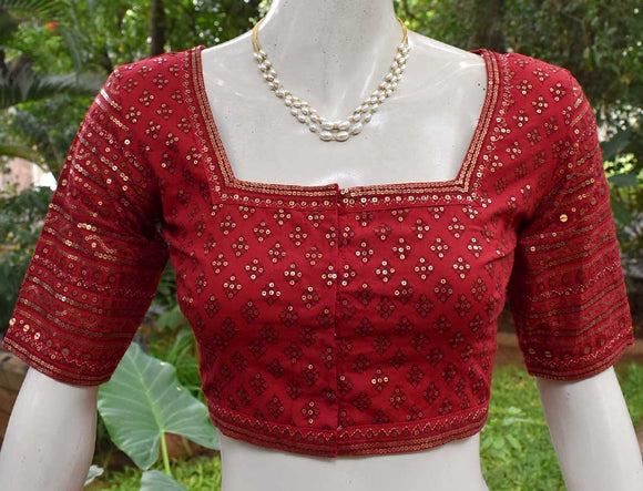 Cotton Blouse with all over Sequins  - Size 36