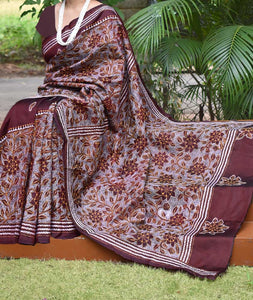 Hand Embroidered Kantha work Bangalore Silk saree
