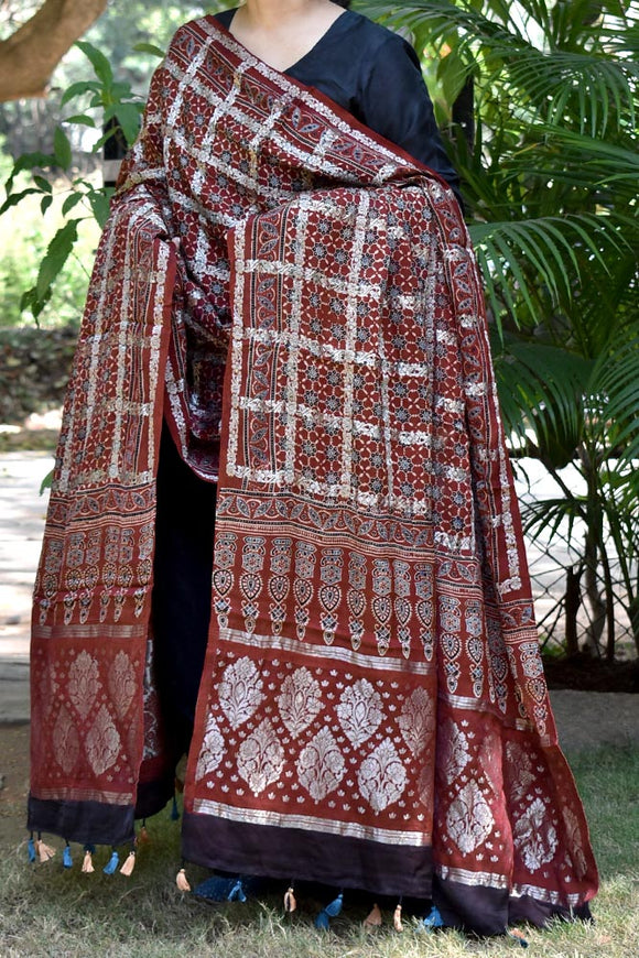 Beautiful Ajrakh Modal Silk Dupatta with Zari checks , woven palla & tassels