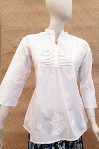 Elegant Cotton Short Kurta with Chikankari work . Size - 40
