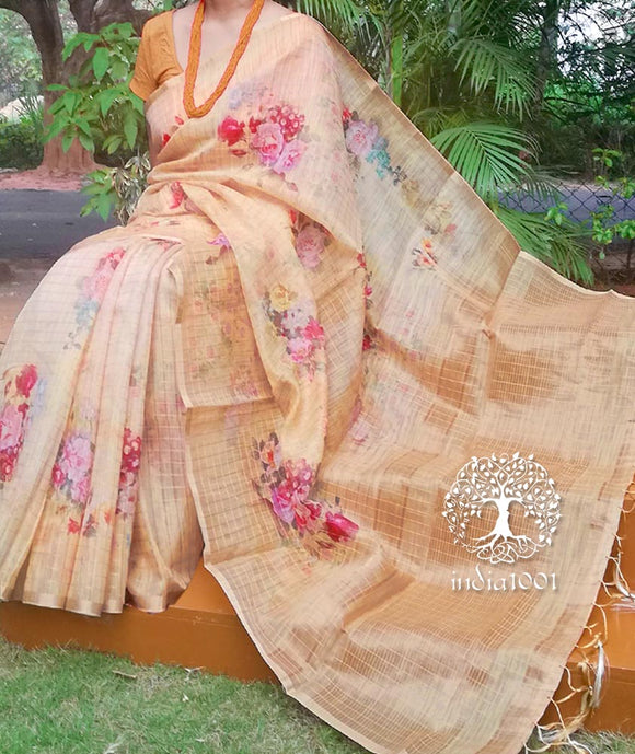 Elegant Digital Printed Faux Silk Cotton saree with zari checks