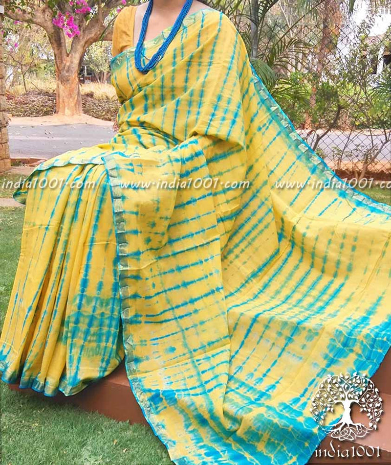 Beautiful Cotton Saree with Shibori Dyeing