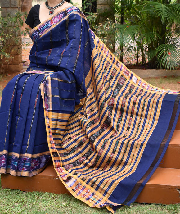 Woven Orissa Ikkat Polycot Saree(without BP)