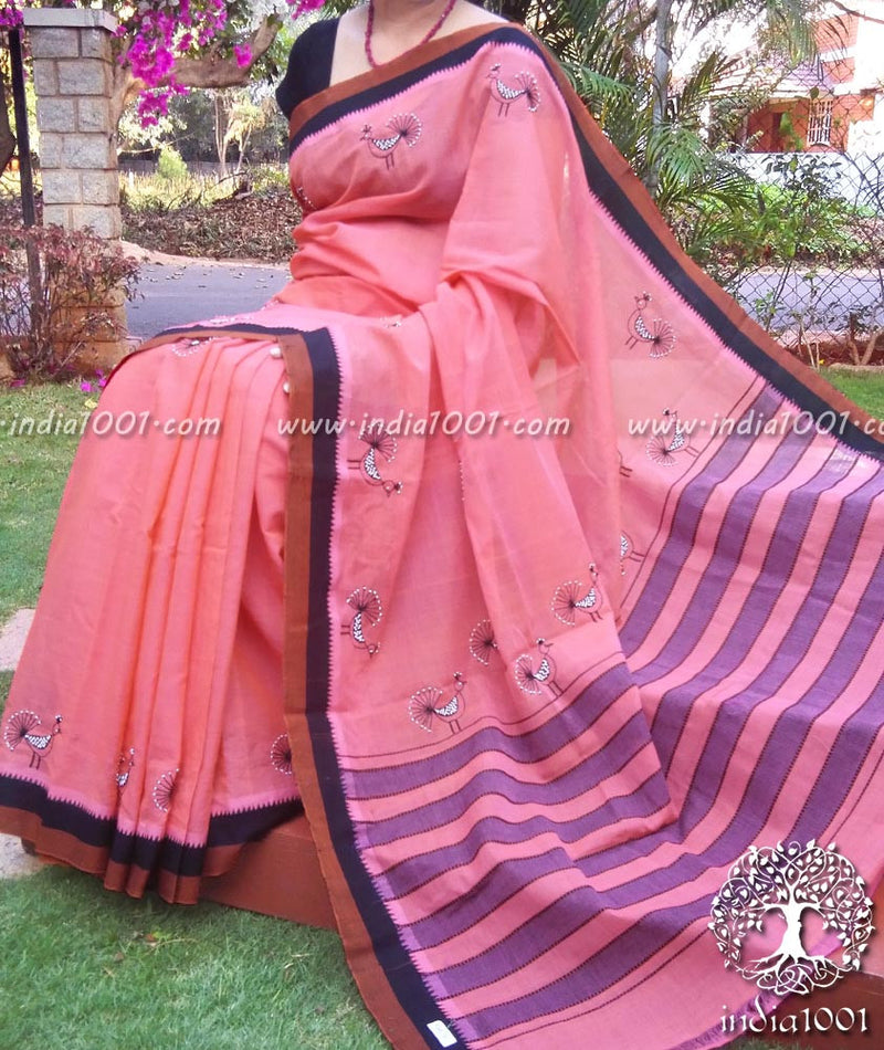 Elegant Mangalgiri Cotton Saree with Hand Embroidery