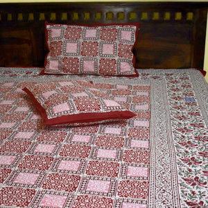 Hand block print Double Bed sheet with pillow covers ( Super King size)
