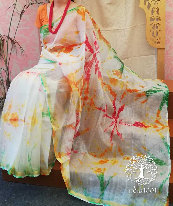 Beautiful Handcrafted Shibori Kota Silk Saree
