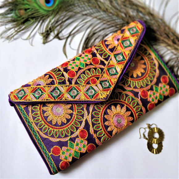 Purple Embroidery Clutch