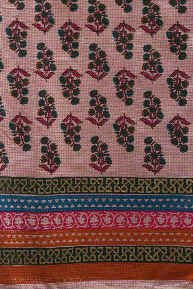 Block Printed Cotton Running Fabric with self embroidery