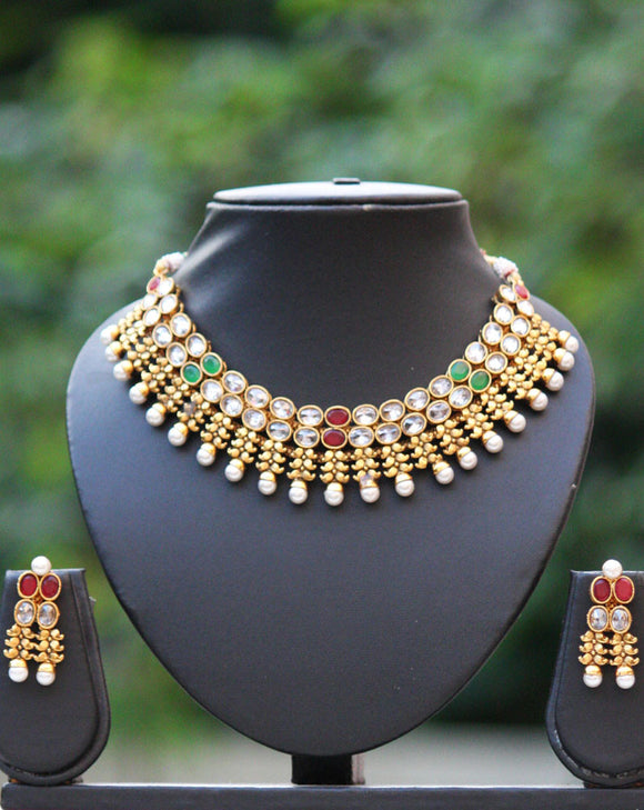 Stunning Kundan & Pearl Necklace Set