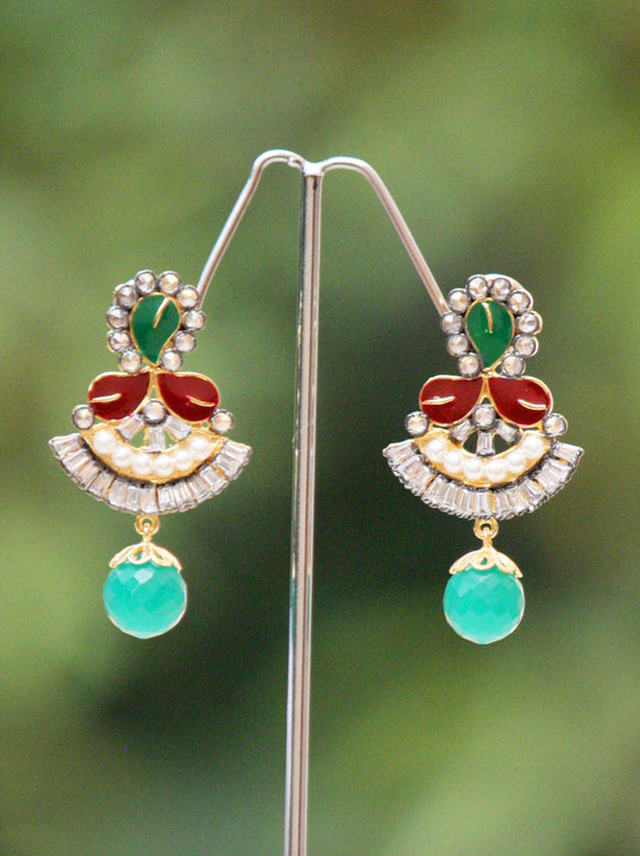 Elegant Pearl, Meenakari and zircon earrings